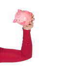 Hand with piggy bank upside Stock Photography