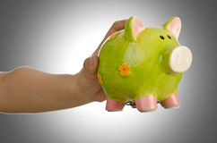 Hand with piggybank. On white background Stock Photography