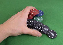 Hand pile of poker chips Stock Photography