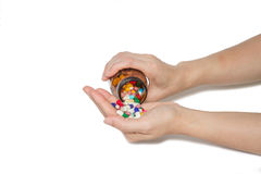 Hand with pills Royalty Free Stock Photos