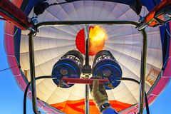 Hot air balloons in the sky stock photo