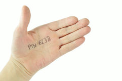 A hand with pin number stored. On a white background Royalty Free Stock Photos