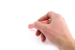 Hand with pink chalk Royalty Free Stock Images