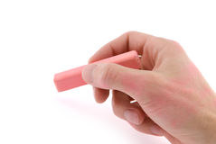 Hand with pink chalk Royalty Free Stock Photos
