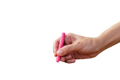 Hand with pink chalk Royalty Free Stock Photo