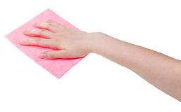 Hand with pink cleaning rag isolated on white Royalty Free Stock Photo