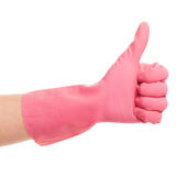 Hand in a pink domestic glove shows ok Stock Image