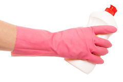 Hand in a pink glove holding liquid Stock Photography