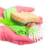 Hand in a pink glove holding sponge Royalty Free Stock Photos
