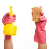 Hand in a pink glove holding spray and sponge Stock Photo
