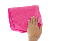 Hand and pink rag Stock Photo