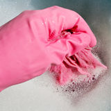 Hand in pink rubber glove wrings out wet cloth Stock Photos