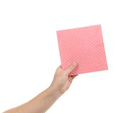 Hand with pink sponge. Royalty Free Stock Photos