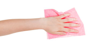 Hand with pink wiping rag isolated on white Royalty Free Stock Image