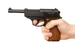 Hand with pistol. Isolated on the white background Royalty Free Stock Photos