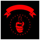 Hand pistol black. Vector illustration red hand with pistol and banner on black background. For tattoo or t-shirt design Stock Photo