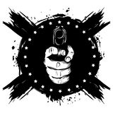 Hand with pistol. Vector illustration hand with pistol on grunge background. For tattoo or t-shirt design Stock Images