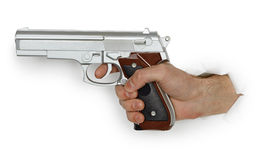 Hand with pistol on white background Stock Image