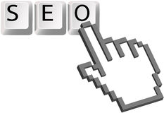 Hand pixel cursor SEO keys Search Engine Optimizat Stock Photos