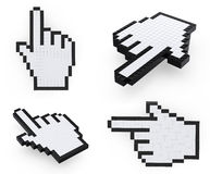 Hand pixelated mouse  pointers Royalty Free Stock Photos