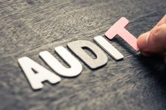 AUDIT WORD. Hand place wood letters for AUDIT word Royalty Free Stock Image