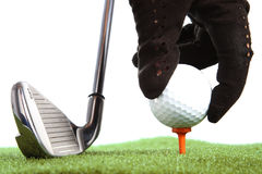 Hand placing golf ball to a tee. On white background Royalty Free Stock Photo