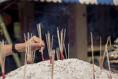 Hand placing incense sticks Stock Image