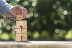 Hand placing wooden building blocks to success. A conceptual image showing a mans hands placing wooden building blocks labeled with planning and success themed stock image