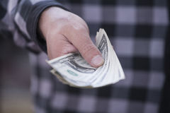 Money in hand. Hand in a plaid shirt keeps money Royalty Free Stock Image