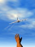 Hand and plane. Scene of the flap of the hand, executed in 3 D Royalty Free Stock Images
