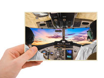 Hand and Plane image my photo Royalty Free Stock Photos