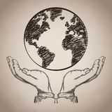 Hand planet earth business icon, Vector illustration. Hand planet earth business icon. Isolated and sketch illustration, Vector illustration Stock Image