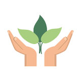 Hand plant environment icon. Vector illustration eps 10 Royalty Free Stock Images