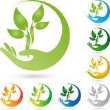 Hand and plant, leaves, naturopath logo Stock Photo