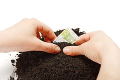 Hand planting Euro banknotes Royalty Free Stock Photos