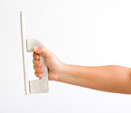 Hand with plastering tool. Closeup for design work Royalty Free Stock Image