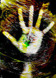 Hand in plastic bag. Texture (digital composition Stock Photography