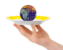 Hand with plate Royalty Free Stock Photo