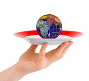 Hand with plate and globe Stock Photos