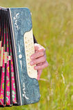 Hand play accordion in field. With green grass royalty free illustration