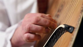 Hand Playing On Bandura stock footage