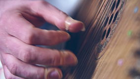 Hand Playing The Bandura. Ukrainian Musical Instrument stock video footage