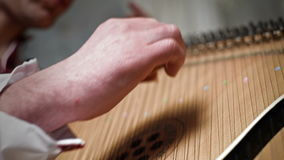 Hand Playing The Bandura. Ukrainian Musical Instrument stock video