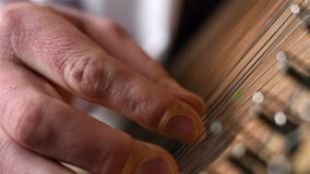 Hand Playing The Bandura. Ukrainian Musical Instrument. Close Up stock video
