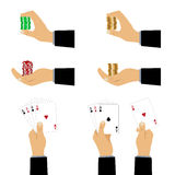 Hand with playing cards and chips. Royalty Free Stock Photo