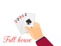 Hand with playing cards. Full House Tens and Kings. Vector Stock Photo