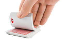Hand and playing cards Stock Photography