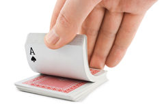 Hand and playing cards Stock Image