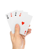 Hand with playing cards Royalty Free Stock Photo