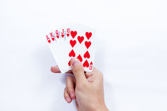 Hand with playing cards isolated on white background Royalty Free Stock Image